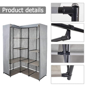 Purchase dporticus portable corner clothes closet wardrobe storage organizer with metal shelves and dustproof non woven fabric cover in gray