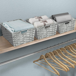 Storage sorbus woven basket bin set storage for home decor nursery desk countertop closet cube organizer shelf stackable baskets includes built in carry handles set of 3 light gray