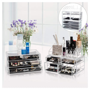 Offeir US Stock Clear Acrylic Stackable Cosmetic Makeup Storage Cube Organizer Jewelry Storage Drawers Case Great for Bathroom Dresser Vanity and Countertop (3 Pieces Set 4 Small & 3 Large Drawers)