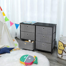 Load image into Gallery viewer, Latest songmics 3 tier wide dresser storage unit with 6 easy pull fabric drawers metal frame and wooden tabletop for closet nursery hallway 31 5 x 11 8 x 24 8 inches gray ults23g
