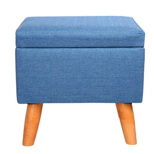 Eshow Square Footstools Wood Storage Stool Rectangular Seat Cube Organizer Home Furniture Ottomans Upholstered Ottoman Foot Stool Handmade Blue