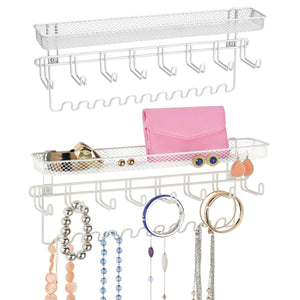 Related mdesign decorative metal closet wall mount jewelry accessory organizer for storage of necklaces bracelets rings earrings sunglasses wallets 8 large 11 small hooks 1 basket 2 pack white