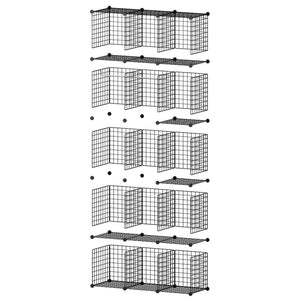 Heavy duty george danis wire storage cubes metal shelving unit portable closet wardrobe organizer multi use rack modular cubbies black 14 inches depth 3x5 tiers
