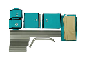 On amazon homebi multi bin storage shelf 11 drawers storage chest linen organizer closet cabinet with zipper covered foldable fabric bins and sturdy metal shelf frame in turquoise 31w x12 dx32h