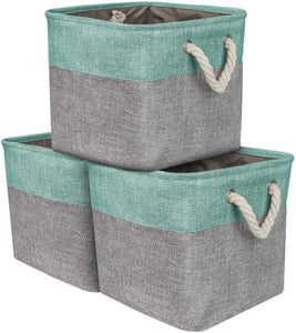 Sorbus Storage Large Basket Set [3-Pack] Big Rectangular Fabric Collapsible Organizer Bin with Cotton Rope Carry Handles for Linens, Toys, Clothes, Kids Room, Nursery (Woven Rope Basket - Teal)