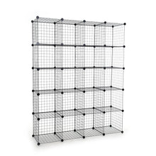 Load image into Gallery viewer, Amazon unicoo multi use diy 20 cube wire grid organizer wardrobe organizer bookcase book shelf storage organizer wardrobe closet black wire