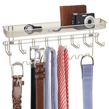 Load image into Gallery viewer, Storage mdesign closet wall mount mens accessory storage organizer rack holds belts neck ties watches change sunglasses wallets 19 hooks and basket 2 pack satin
