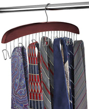 Load image into Gallery viewer, Select nice floridabrands scarf and tie hanger closet organizer and 12 hook wooden tie rack hanger for space saving solution and perfect space saving closet makeover mahogany color
