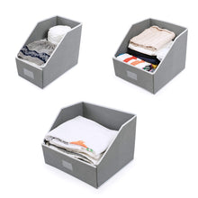 Load image into Gallery viewer, Products woffit linen closet storage organizers set of 3 foldable baskets to organize your sheets towels washclothes blankets clothing sweaters etc 100 organic fabric bins