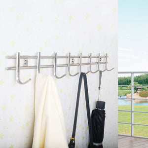 Great webi wall mounted coat rack hooks heavy duty sus 304 wall hooks rack robe hooks metal decorative hook rail for bathroom kitchen office entryway hallway closet 8 hooks brushed finish 2 packs
