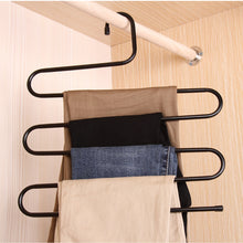 Load image into Gallery viewer, Cheap ds pants hanger multi layer s style jeans trouser hanger closet organize storage stainless steel rack space saver for tie scarf shock jeans towel clothes 4 pack 1