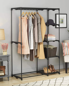 Storage whitmor freestanding portable closet organizer heavy duty black steel frame double rod wardrobe cloths storage with 5 shelves shoe rack for home or office size 45 1 4 x 19 1 4 x 68