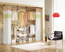 Load image into Gallery viewer, Discover the prince hanger deluxe 4 tier shelf hanger with curtain clothing rack closet organizer phus 0061