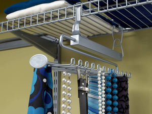 Budget closetmaid 78060 sliding tie belt rack for wire shelving satin chrome
