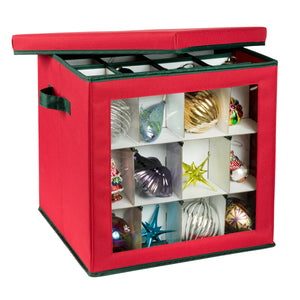 48-Cube Ornament Storage Container, Red