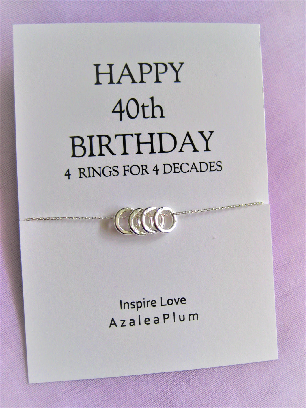 40th Birthday Gifts Women, Solid Sterling Silver Necklace, Birthday Necklace, Jewelry for Her, 40th Birthday Gift, 40th Birthday Necklace