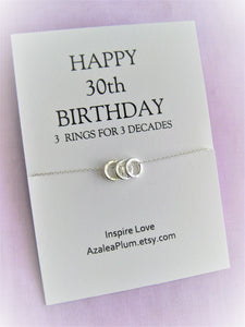 30th Birthday Gift for Her, Solid Sterling Silver Necklace, 30th Birthday Gift, Jewelry Gift for Her, 30th Birthday Necklace