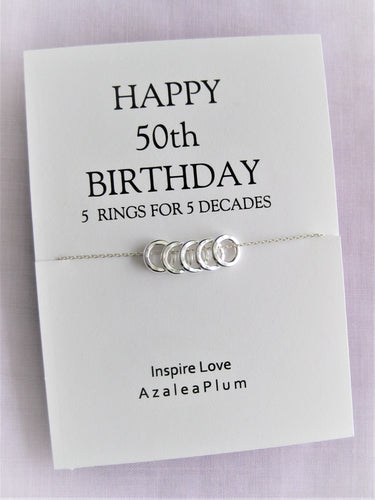 50th BIRTHDAY Gift Necklace: Birthday Gift, Jewelry Gift for Her, 5 Solid Sterling Silver Circles, 50th birthday Gift Ideas for Her