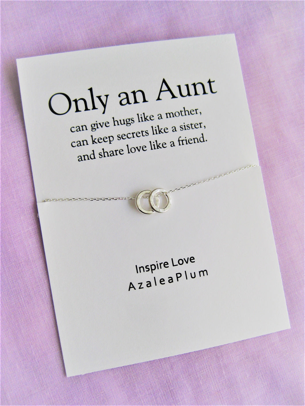 Aunt-Niece Necklace: Aunt-Niece Gift, Aunt-Niece Jewelry, Aunt-Niece Quotes, Aunt Necklace, 2 Solid Sterling Silver Circles