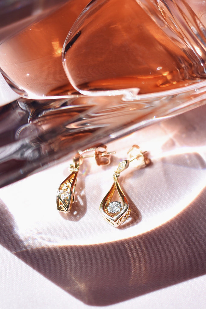 10K Gold and Diamond Drop Earrings