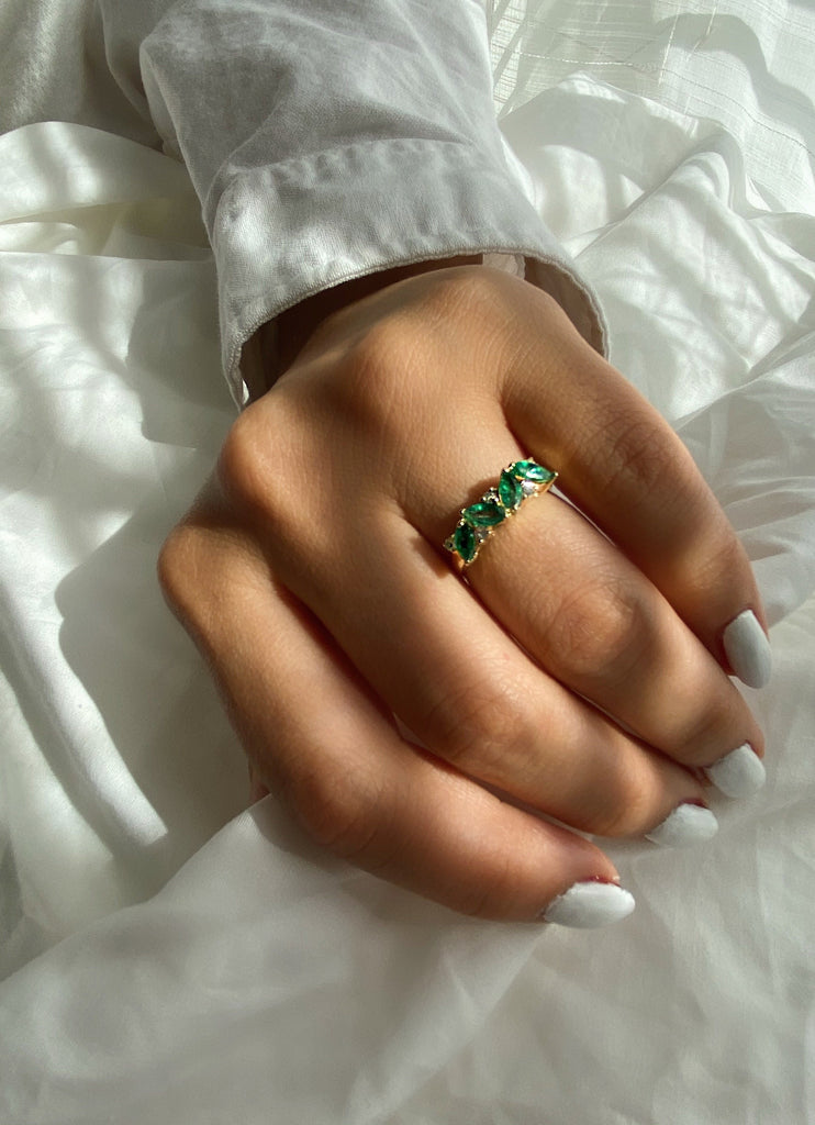 14K Emerald Petals and Diamond Ring