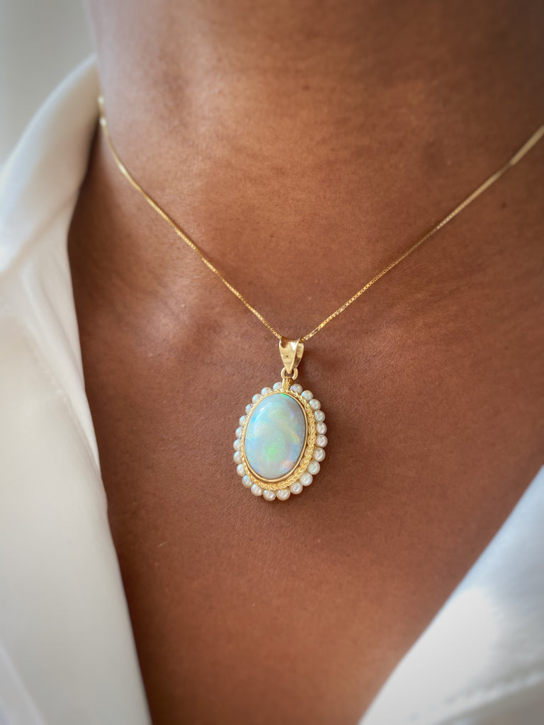 14K Opal and Pearl Pendant
