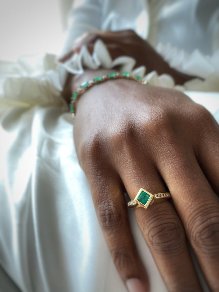 14K Emerald Princess and Diamond Ring