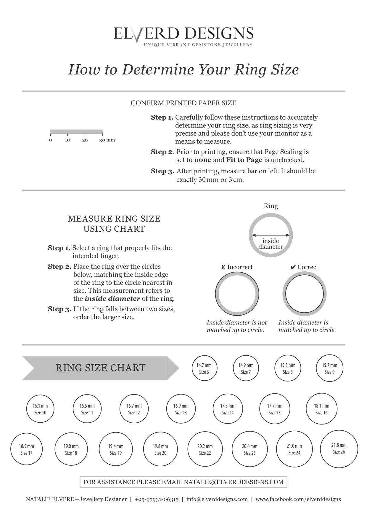 Ring size chart elverd designs ring size chart nvjuhfo Image collections