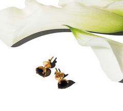 Renee Earrings Black Onyx. Solid yellow gold 14K