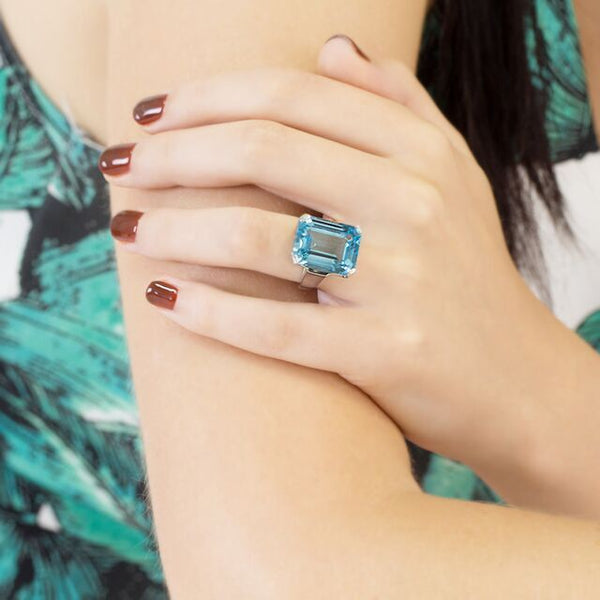 Blue Topaz Art Deco Ring