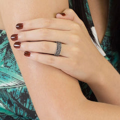 Black Spinel Stackable Eternity Rings