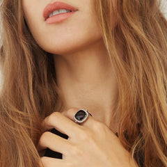 Celebrations Ring Black Onyx. Solid White Gold 14k & Diamonds