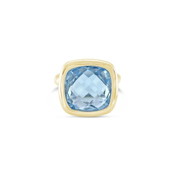 Urban Chic Ring Blue Topaz. Solid Yellow Gold 14k