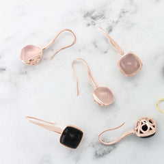 Indra Earrings. Black Onyx & Rose Gold