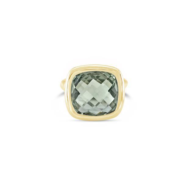 Urban Chic Ring Green Amethyst. Solid Yellow Gold 14k