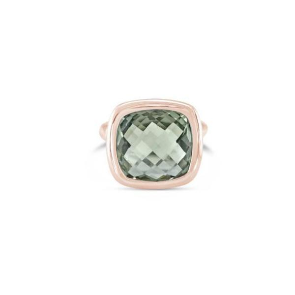 Urban Chic - LOVE Ring Green Amethyst. Solid rose gold