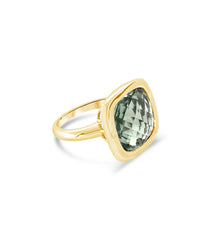Urban Chic - LOVE Ring Green Amethyst. Solid Yellow Gold 14k