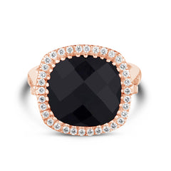 Celebrations Ring Black Onyx. Solid Rose Gold 14k & Diamonds