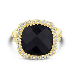 Celebrations Ring Black Onyx. Solid Yellow Gold 14k & Diamonds