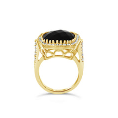 Black Onyx Celebrations ring. Solid yellow gold & diamonds