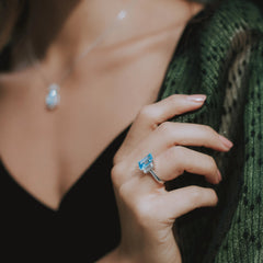 Joy Ring Blue Topaz & White Quartz