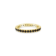 Eternity Ring Black Spinel. Solid 18K Yellow Gold