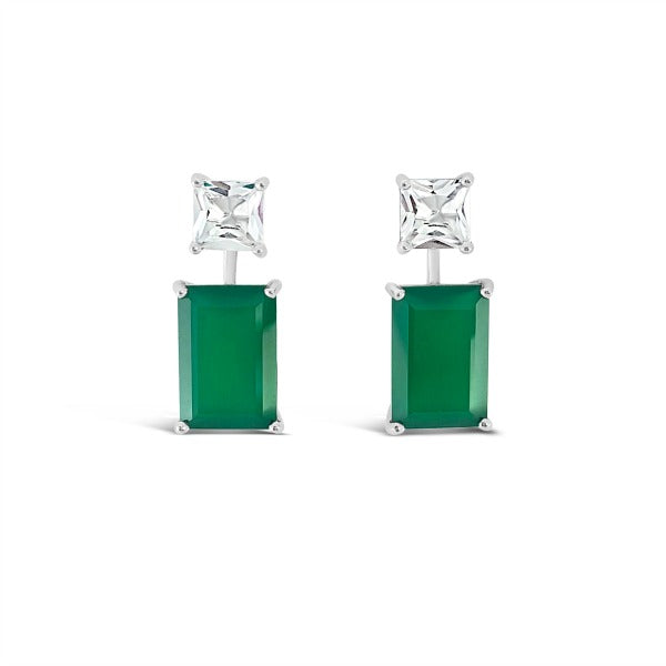 Modern Muse Earrings Green Emerald Agate & White Quartz