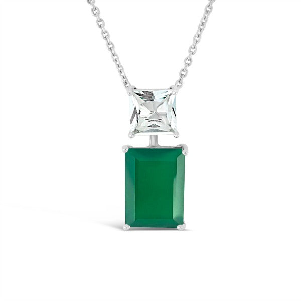 Modern Muse Pendant Emerald Green Agate & White Quartz