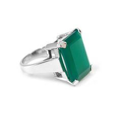 Green Agate Art Deco Ring