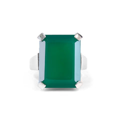 Art Deco Ring Emerald Green Agate