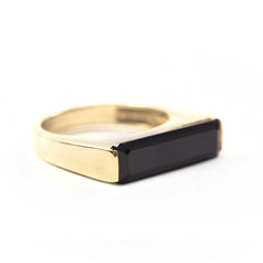 Black Onyx Gold TBar Rings