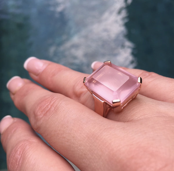 Rose Quartz Art Deco Ring