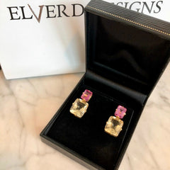 Limited Edition Pink Topaz & Champagne Quartz stud earrings