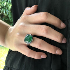Celebrations Ring Emerald Green Agate & Black Spinel